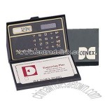 Business Card holder with solar calculator