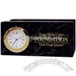Business card holder with clock