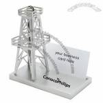 Business card holder with oil rig on base