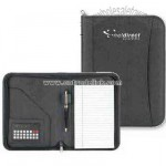 Business portfolio with credit card calculator and paper pad