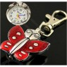 Butterfly Shape Round Dial Watch Lobster Clasp Key Ring