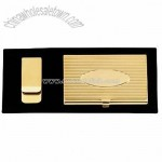 CARD CASE AND MONEY CLIP GIFT SET - GOLD