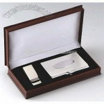 CARD CASE AND MONEY CLIP GIFT SET - SILVER