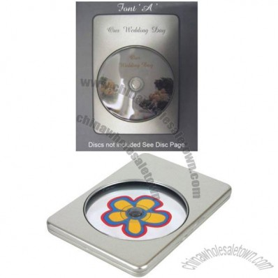 CD/DVD2 Amaray Size Tin with Window and Hinged Lid