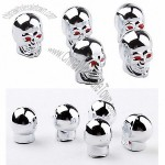 CHROME Skull Style Car Tire Valve Caps - Silver