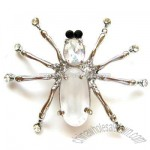 CLEAR BEADS SPIDER PIN BROOCH CRYSTAL RHINESTONE FEET