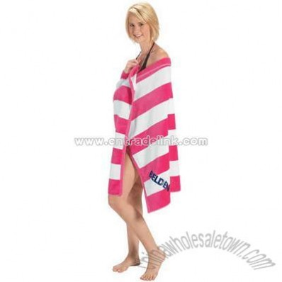 Cabana stripe cotton terry velour beach towel with bright wide stripes