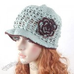 Caddice Hat Hand knit Crochet Beanie Flower