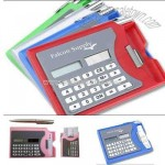 Calculator with card holder and pen