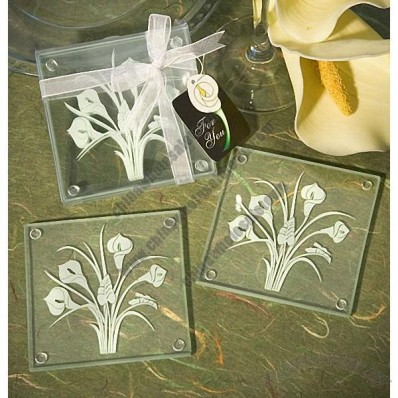 Calla Lily Glass Drink Coasters