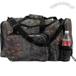 Camouflage pattern hunting bag with zipper and sewn wrap around handles