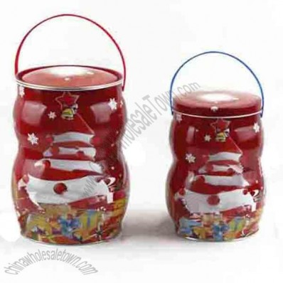 Candy Tin Container with Xmas Design
