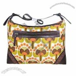 Canvas Handbag with Shoulder Strap and Zipper Closure