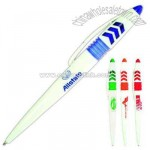 Cap-action retractable mechanism pen with arrow design and arched clip