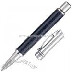 Cap off roller ball pen with carbon fiber barrel and satin nickel cap.