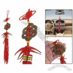 Car Auto 7 Copper Coins Detail Tassel Chinese Knot Ornament Red 13.4