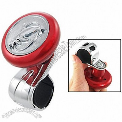Car Auto Red Silver Tone Dolphin Steering Wheel Spinner Suicide Knob