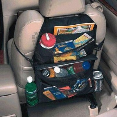 Car Cooler/Organizer with 3 Pockets and 2 Drink Holders