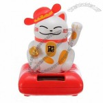 Car Decoration Solar Energy Swing Fortune Cat with Hat