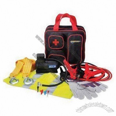 Car Emergency Kit, Inckudes Air Compressor, Booster Cable, Bag and Safety Vest