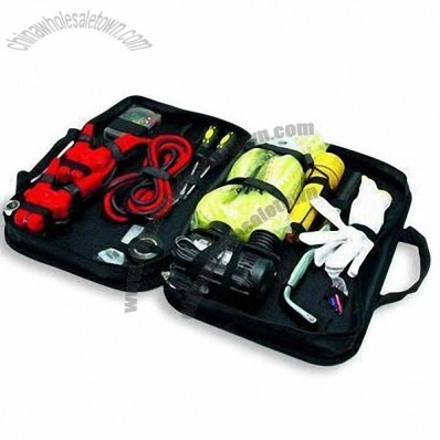 Car Emergency Kit/Auto Road Safety/Roadside Tool Set with Easy Starter and Air Compressor