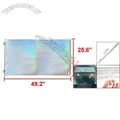 Car Front Rear Window Folding Sun Shade Silver Tone 125cm x 65cm