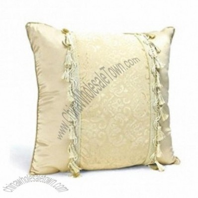 Car Hold Pillow Back Cushion Throw Pillow With Tassels & Embroidery Pattern Khaki