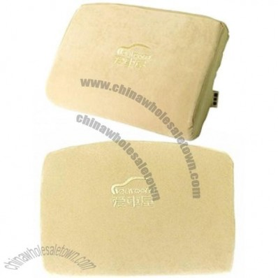 Car Memory Foam Waist Cushion Mini Low Back Cushion Pillow Khaki