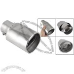 Car Oval Shape Outlet Silver Tone Exhaust Muffler Pipe