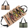 Car Seat Back Tool Roll Bag - Waxed Canvas Tool Organizer Bucket - Large Wrench Roll Pouch