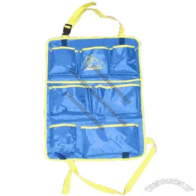 Car Seat Organizer in blue and yellow