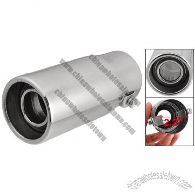 Car Silver Tone Straight Cut Round Outlet Exhaust Tip Muffler 5.5