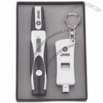 Car gift set with screwdriver flashlight and tire gauge keychain