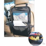Car seat back bag with cooler and tray