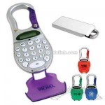 Carabineer calculator with spring loaded carabineer clip and soft rubber keys