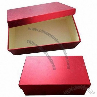 Cardboard Shoe Box, Made of 1200gsm Paperboard/157g Art Paper, Bright Red Offset Printing