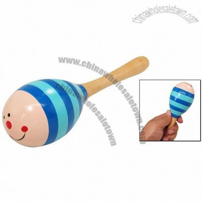 Cartoon Animal Stripped Wooden Hand Painted Maracas Children's Musical Toy