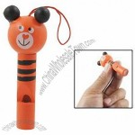 Cartoon Bear Shaped Orange Painted Wooden Whistle Toy
