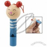 Cartoon Mouse Shaped Wooden Whistle Pendant