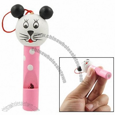 Cartoon White Head Pink Cat Shaped Painted Wood Whistle