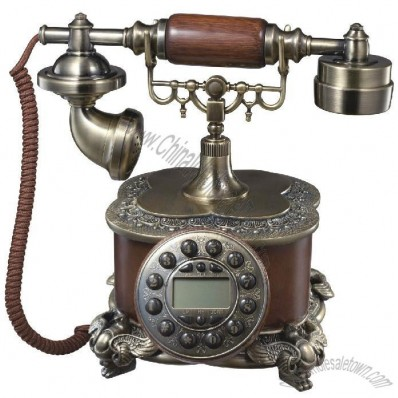 Carved LED Display Wooden Desktop Corded Telephone