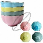Carved-inside Colorful Ceramic Ice Cream Bowl