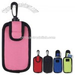 Case, holds cell phone and MP3 players with plastic carabiner clip