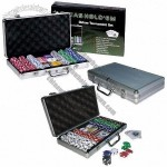 Casino game set, includes 300-piece poker chips, aluminum case