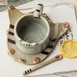 Cat Face Ceramic Coffee Cup With Saucer