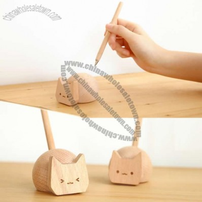 Cat Pen Holder Wooden Signing Pen Set
