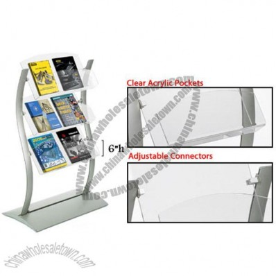 Catalog Holder, Wave-Shaped Display with Acrylic Pockets