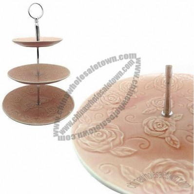 Ceramic Cake Stand With 3-Tier Slate, Embossed Rose Pattern, Durable And Eco-Friendly