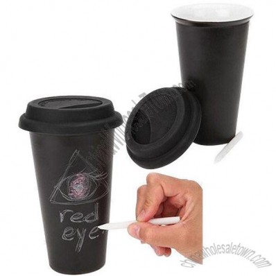 Ceramic Chalk Mug with Silicone Lid