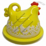 Ceramic Chick Cake Plate with Dome, Cake Plate with Cover for Easter